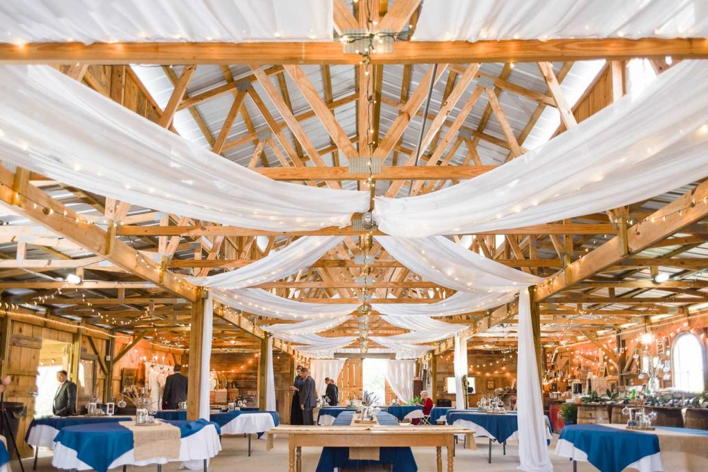 Interior of The barn decorated in navy and white